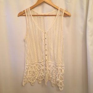 Boho Lace Cream Vest